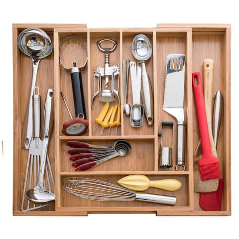 Sweet Home Collection Expandable Bamboo Utensil, Cutlery and Utility Drawer Organizer