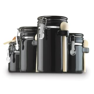 Sweet Home Collection 4-piece Black Ceramic Canister Set with Spoons