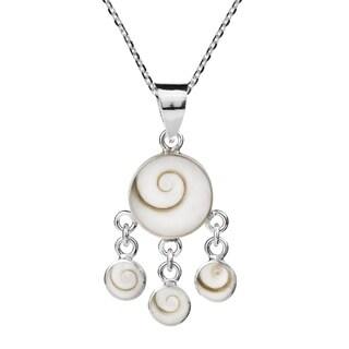 Handmade Round Swirl Shiva Shell Dangle 925 Silver Pendant Thailand