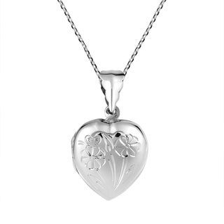Carved Enchanting Flowers Heart Locket .925 Silver Necklace (Thailand)