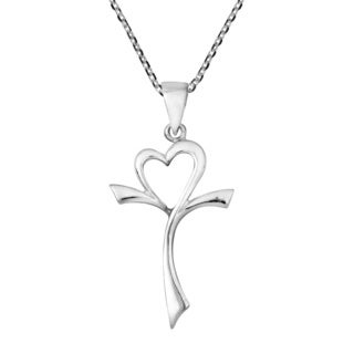 Handmade Sweet Modern Open Heart Cross .925 Sterling Silver Necklace (Thailand)