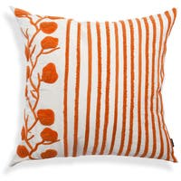 Orange-White Striped Floral Cushion, 20-Inch