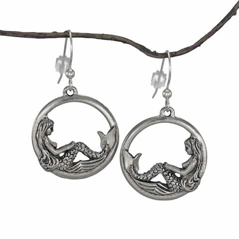 Handmade Jewelry by Dawn Round Mermaid Pewter Dangle Earrings (USA) - Silver