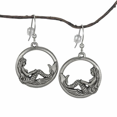 Handmade Jewelry by Dawn Round Mermaid Pewter Dangle Earrings (USA) - Silver