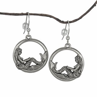 Handmade Jewelry by Dawn Round Mermaid Pewter Dangle Earrings - Silver
