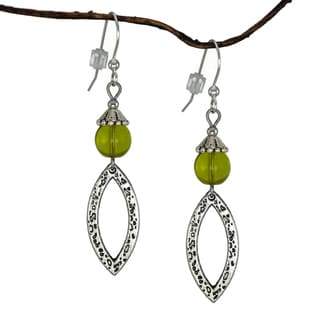 Jewelry by Dawn Olive Green Antique Pewter Marquis Dangle Earrings