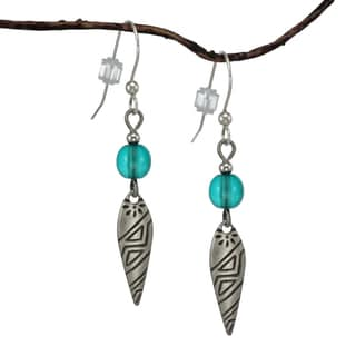 Jewelry by Dawn Turquoise Blue Glass Antique Silver Colored Patterned Drop Earrings