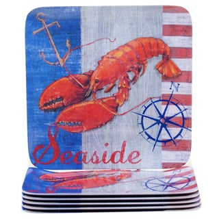 Certified International Maritime 10.5-inch Melamine Lobster Dinner Plates (Set of 6)
