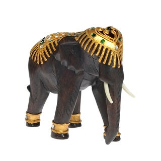 Majestic Elephant Carved Rain Tree Wood Figurine Sculpture (Thailand)