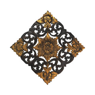 Handmade Antique Flower Two-Tone Hand Carved Teak Wood Wall Art (Thailand) - Gold/Brown