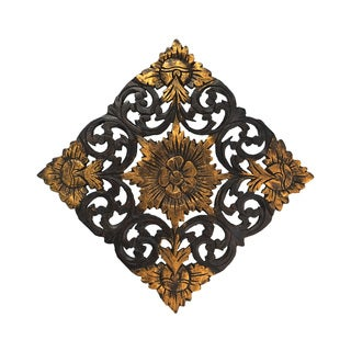 Antique Flower Two Tone Hand Carved Teak Wood Wall Art (Thailand)