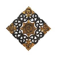 Antique Flower Two Tone Handmade Teak Wood Wall Art (Thailand) - Gold/Brown