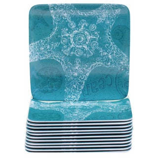 Certified International Aqua Treasures 6-inch Melamine Canape Plates (Set of 12)