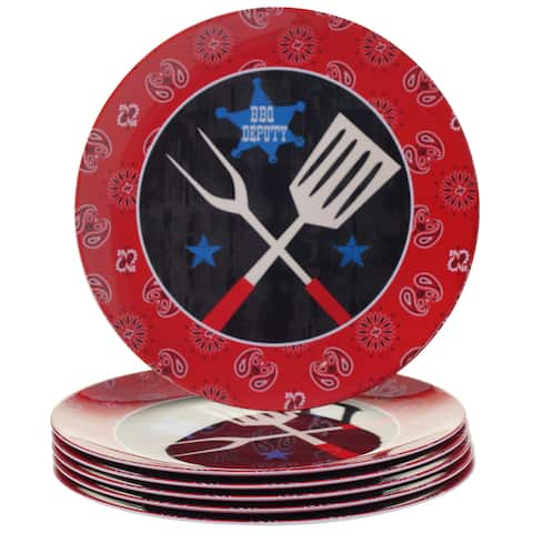 Certified International BBQ Bandit Melamine Dinner Plates (Set of 6)