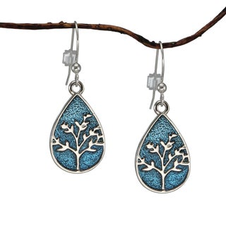Jewelry by Dawn Small Blue Enamel Tree Of Life Teardrop Earrings