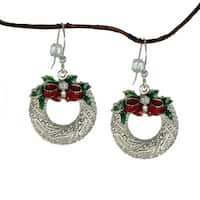 Handmade Jewelry by Dawn Silver Pewter Wreath Holiday Dangle Earrings (USA)