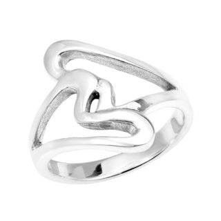 Handmade Abstract Two Loving Hearts Wrap .925 Sterling Silver Ring