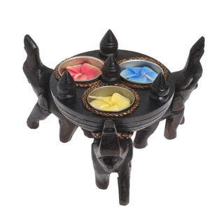 Triple Elephant Under Round Tree Wooden Candle Holder (Thailand)