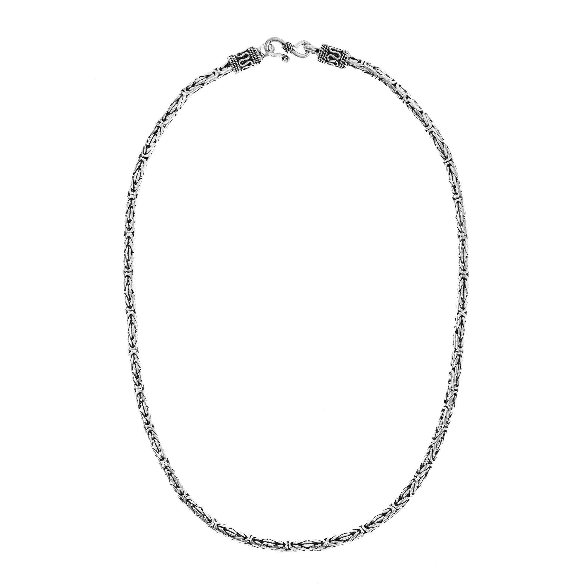Sterling Silver Mens or Womens 4mm Square Byzantaine Chain Necklaces and Bracelets