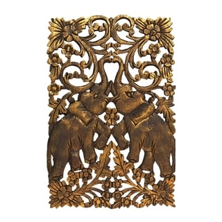 Couple Gold Elephant Calves Hand Carved Teak Wood Wall Art (Thailand)