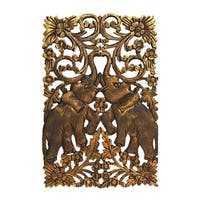 Couple Gold Elephant Calves Handmade Teak Wood Wall Art (Thailand)