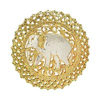 Handmade The Grand Elephant Gilded 24k Gold Carved Wood Wall Art (Thailand)