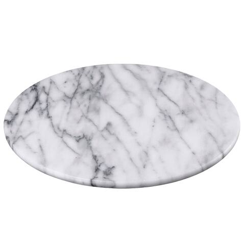 "Creative Home White Marble 12"" Lazy Susan, Rotating Serving Board"