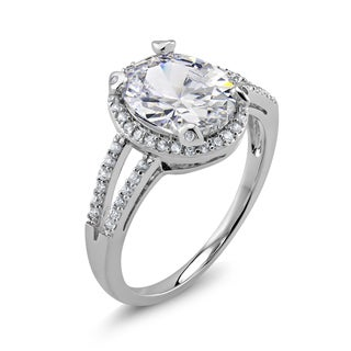 Rhodium-plated Oval Cubic Zirconia Halo Engagement Ring
