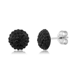 Sterling Silver Crystal 10 mm Round Stud Earrings
