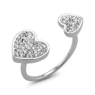 Rhodium-plated Clear Crystal Double Sided Heart Preciosa Ring|https://ak1.ostkcdn.com/images/products/11367974/P18338306.jpg?_ostk_perf_=percv&impolicy=medium