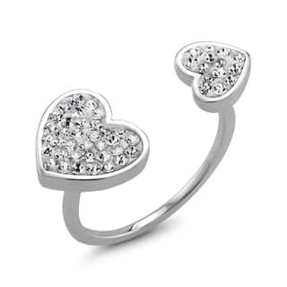 Rhodium-plated Clear Crystal Double Sided Heart Preciosa Ring|https://ak1.ostkcdn.com/images/products/11367974/P18338306.jpg?impolicy=medium