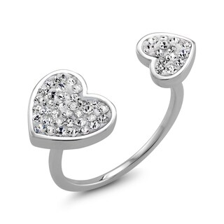 Rhodium-plated Clear Crystal Double Sided Heart Preciosa Ring