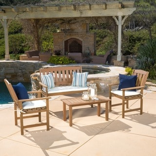 Outdoor Belize 4 Piece Wood Chat Set With Cushions By Christopher Knight Home