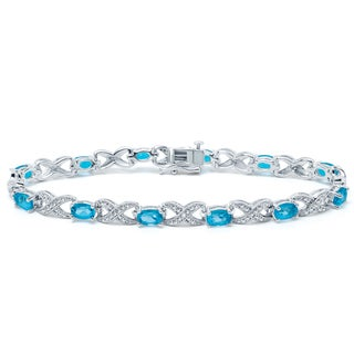 Divina Rhodium Overlay Blue Topaz and Diamond Accent Bracelet