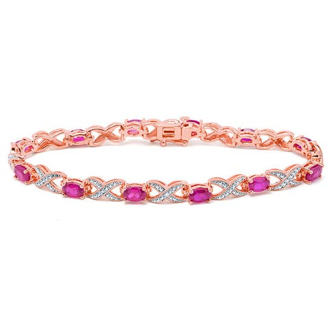 Divina Rose Gold Overlay Ruby and Diamond Accent Bracelet