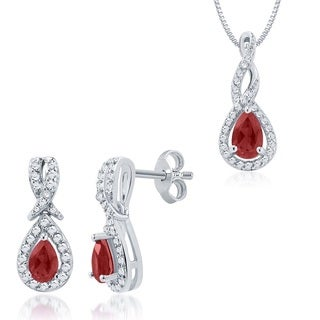 Divina Rhodium Overlay Ruby and Diamond Accent 2-piece Jewelry Set (I-J, I2-I3)