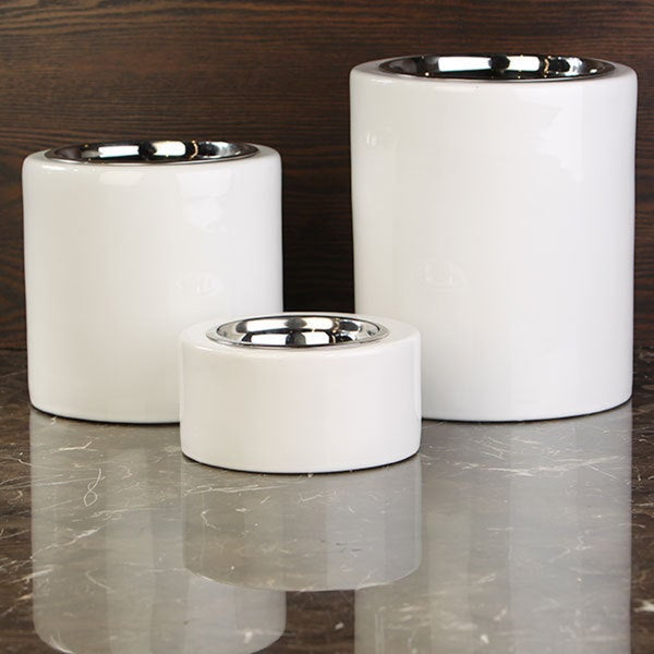 Shop Unleashed Life High Rise White Collection Pet Bowls