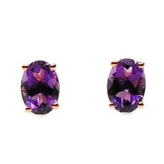Kabella 14k Rose Gold Oval Amethyst Stud Earrings