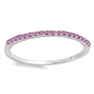Elora 14k White Gold Pink Sapphire Anniversary Wedding Band