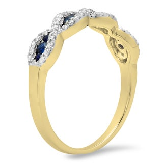Elora 10k Gold 1/3ct Round Blue Sapphire and White Diamond Swirl Stackable Wedding Band (I-J, I2-I3)