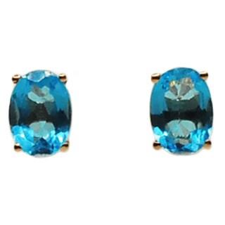 Kabella 14k Rose Gold Oval Blue Topaz Stud Earrings