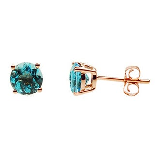 Kabella 14k Rose Gold Round Blue Topaz Stud Earrings