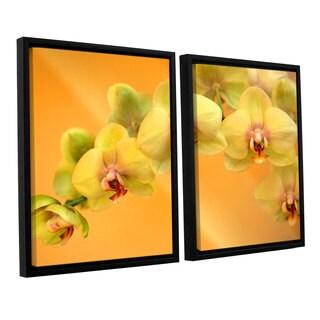 ArtWall 'Kathy Yates's Yellow Phalaenopsis' 2-piece Floater Framed Canvas Set