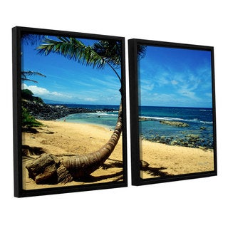 ArtWall 'Kathy Yates's Palm Tree in Paradise' 2-piece Floater Framed Canvas Set