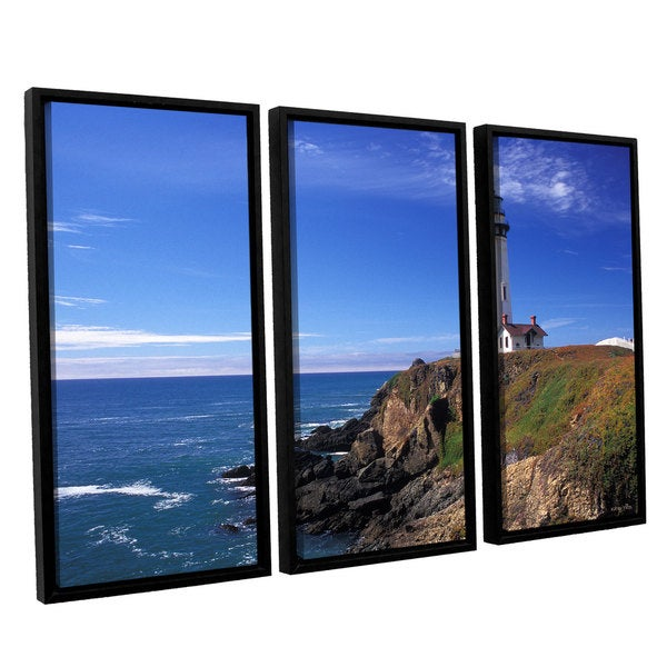 ArtWall 'Kathy Yates's Pigeon Point Lighthouse' 3-piece Floater Framed Canvas Set