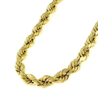 14k Yellow Gold 5mm Hollow Rope Diamond-cut Chain Necklace