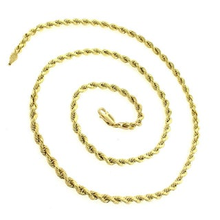 10k Yellow Gold 3mm Hollow Rope Diamond-cut Chain Necklace (5 options available)