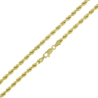 10k Yellow Gold 3.5mm Solid Rope Diamond-cut Chain Necklace