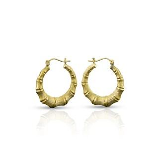 10k Yellow Gold Women's Fancy Bamboo Door Knocker Hoop Earrings