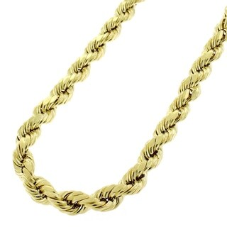 14k Yellow Gold 5.5mm Hollow Rope Diamond-cut Chain Necklace